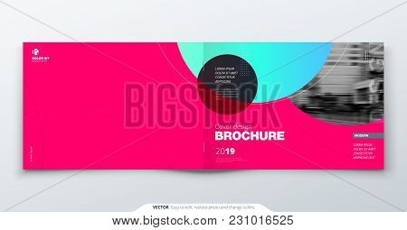 Magenta Brochure Design. Horizontal Cover Template For Brochure, Report, Catalog, Magazine. Layout W