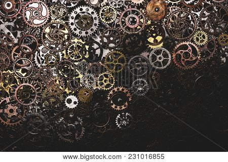 Bunch of cogwheels laying down. Spare parts. Engineering.