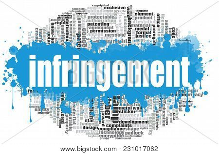 Infringement Word Cloud Concept On White Background, 3d Rendering.