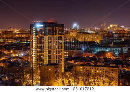 Modern High-rise Residential Building In Night City Of Voronezh.