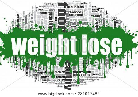 Weight Lose Word Cloud Concept On White Background, 3d Rendering,