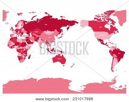 World Map In Four Shades Of Maroon On White Background. High Detail Pacific Centered Political Map.
