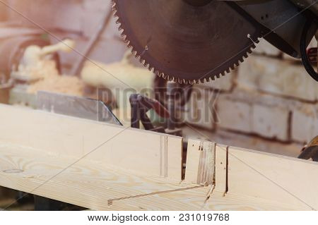 Workshop of Cabinetmaker Carpenter - Working with Wood. Electric Backsaw with Copyspace poster