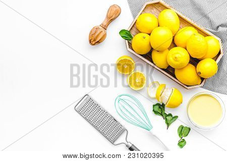 Yellow Lemons For Cooking Citrus Curd On White Background Top View Space For Text
