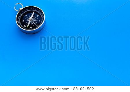 Direction Concept With Compass On Blue Table Background Top View Mockup