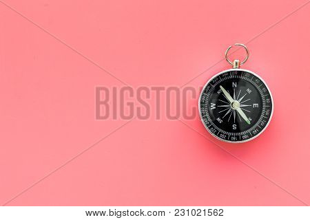 Direction Concept With Compass On Pink Table Background Top View Mockup