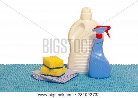 Multi-colored Plastic Containers For Household Chemicals, Cleaning Products For Home Use. Isolated,