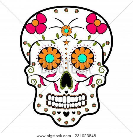 Isolated Floral Ornamented Head Skull. Day Of The Dead. Vector Illustration Design