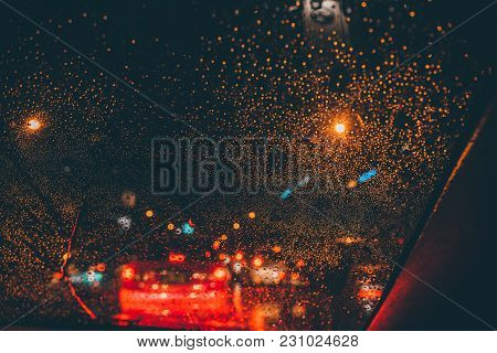 De Focused/blur Image Of City At Night.blurred Urban Abstract Traffic Background.night Blurred Bokeh
