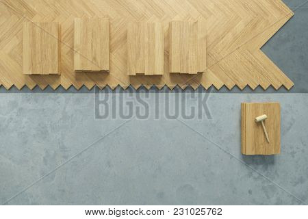 Floor at the parquet laid from above at the renovation (3D Rendering)