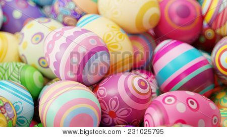 Easter eggs painted colorfully on a pile for Easter (3D Rendering)