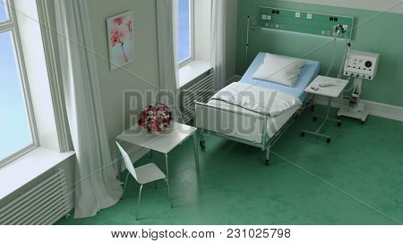 Empty hospital room in hospital or nursing home with table and chair for visitors (3D Rendering)