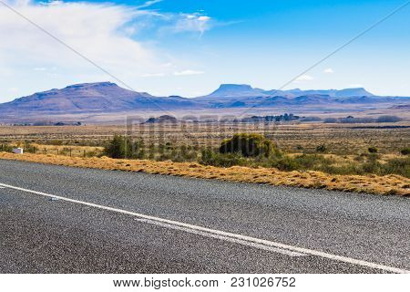 Perspective Road From Orange Free State. On The Road To Karoo, South Africa. African Landscape. Trav