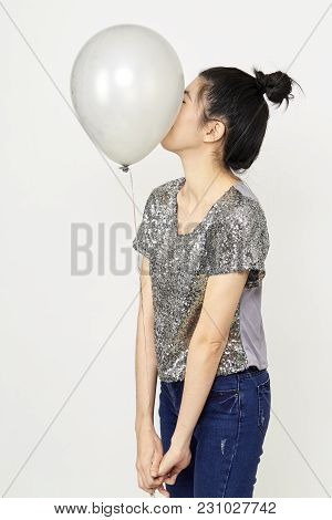 Beautiful Asian Woman With Colorful Balloons In The Studio Noon Light , Summer Holidays, Celebration