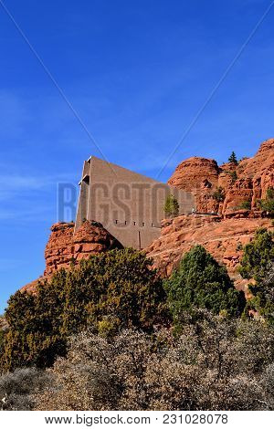 The Chapel Of The Holy Cross Outside Of Sedona Arizona Usa. Surrounded By The Ed Rocks Of The Buttes