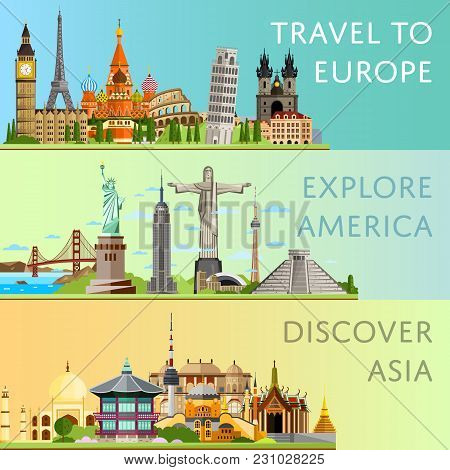 Worldwide Travel Horizontal Flyers With Famous Architectural Attractions. Travel To Europe. Discover