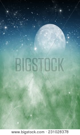 Premade Setting Of The Moon With Stars And Clouds In A Fantasy Background.