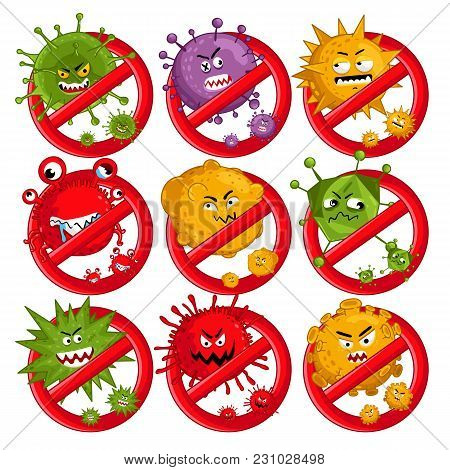 Cartoon Viruses Characters Isolated  Illustration On White Background. Cute Fly Germ Virus Infection