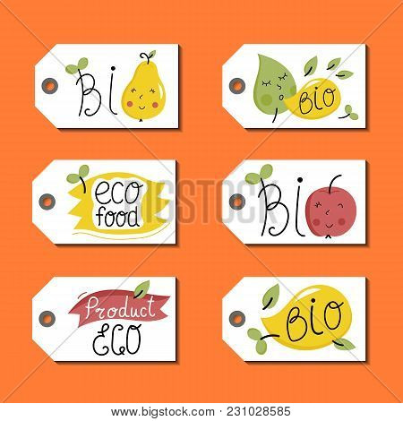 Eco And Bio Food Labels Set Isolated On Orange Background. Natural Products Price Tags For Organic F