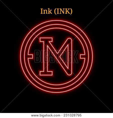 Red Neon Ink (ink) Cryptocurrency Symbol. Vector Illustration Eps10 Isolated On Black Background