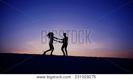 Girl Runs To Meet Beloved Boy, Who Runs Towards Her, Lovers On Move Taking Up Arms And Circling Each