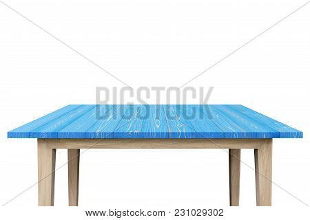Empty Top Of Wooden Shelf Or Counter Isolated On White Background. For Product Display