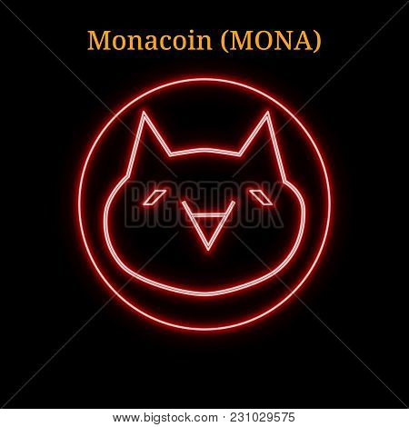 Red Neon Monacoin (mona) Cryptocurrency Symbol. Vector Illustration Eps10 Isolated On Black Backgrou