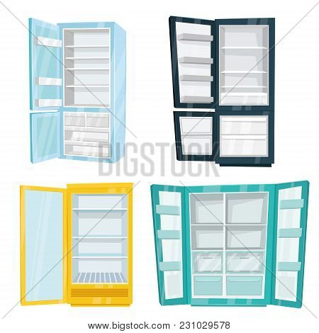 Home And Commercial Refrigerators  Illustrations Isolated On White Background. Different Types Of Fr