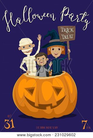 Halloween Party Banner With Funny Kids In Carnival Costumes Mummy, Vampire And Witch Sitting In Pump
