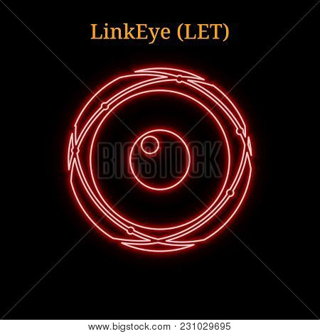 Red Neon Linkeye (let) Cryptocurrency Symbol. Vector Illustration Eps10 Isolated On Black Background