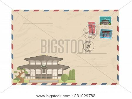 Japan Vintage Postal Envelope With Postage Stamps And Postmarks On White Background, Isolated  Illus