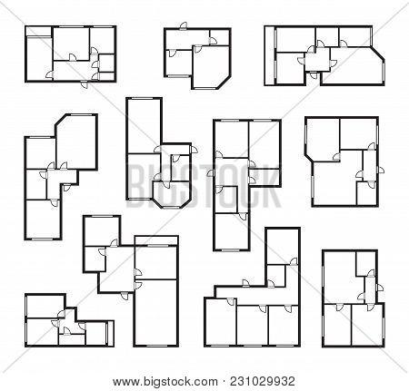 Apartment Vector Plans, Architectural Floor Project Blueprint