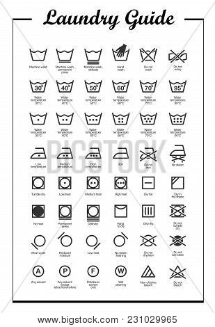 Laundry Vector Icons Set, Full Label Collection