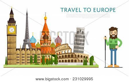 Travel To Europ Banner With Smiling Tourist On Background Of Famous Traditional And Modern Architect