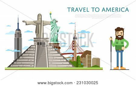 Travel To America Banner With Smiling Tourist On Background Of Famous Traditional And Modern Archite