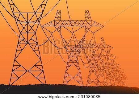 Transmission Towers Orange Landscape Background Vector Template