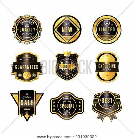 Gold Metal Badge Collection Vintage Style Isolated  Illustration. Quality Guaranteed And Exclusive B