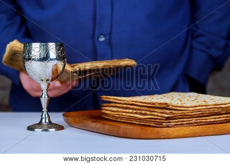 Jewish Matzah On Decorated Silver Wine Cup With Matzah, Jewish Symbols For The Passover Pesach Holid