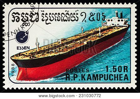 Moscow, Russia - March 13, 2018: A Stamp Printed In Cambodia Shows Big Tanker, Series
