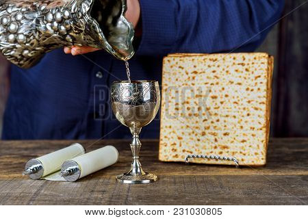Pesah Celebration Concept Jewish Matzah Bread With Wine. Passover Holiday Concept