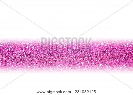 Fancy Pink Glitter Sparkle Confetti Line Background For Happy Birthday Party Invite, Christmas, Prin