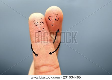 Loving Couple Finger Face Hugging With Kisses