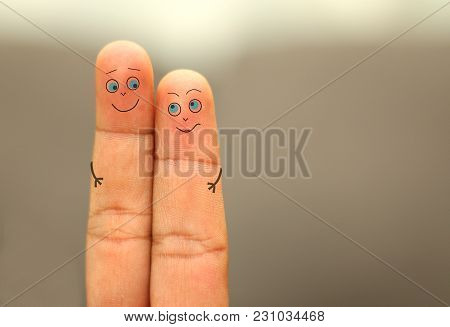 Loving Finger Couple With Smiley Face Hugging