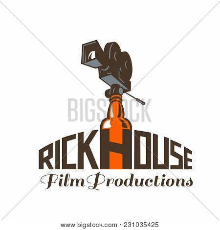 Icon Retro Style Illustration Of A Vintage 35mm Motion Picture Camera, Film Or Movie Camera Set On T