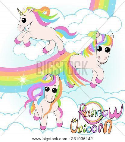Set Of Unicorns. Three Small Unicorns With Iridescent Hair Against The Sky With A Rainbow And White