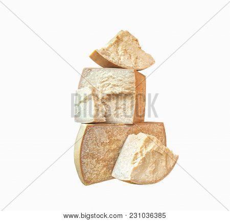 Fermented Cheese Pieces Isolated On A White Background