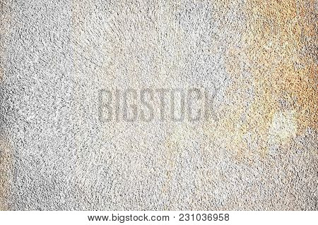 Texture Of Mixed White Cement With Stain On The Right Side