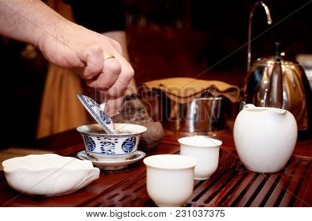 Tea Ceremony. A Set For A Tea Ceremony. The Traditional Way Of Making Tea.