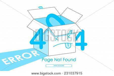 404 Box Line Blue Error Page Not Found Vector Background