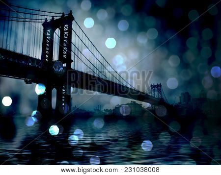 Manhattan Bridge Night Scene. Bokeh. 3D rendering